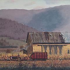"Christopher Robbins Oil on Artist Board, ""October Harvest"""