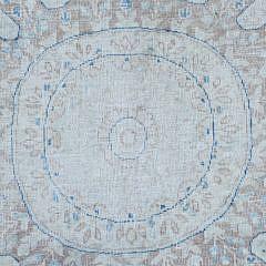 Vintage Blue and Creme Persian Kerman Oriental Carpet