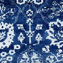 Hand Knotted Blue and White Wool and Silk Tabriz Carpet