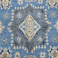 Blue and Grey Afghan Vintage Style Kazak Carpet