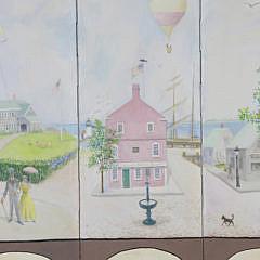 Gerald Taber Oil on Canvas Three Panel Room Divider