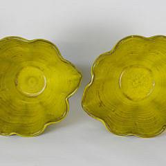 Pair of Yellow Glazed Ceramic Pottery Vases