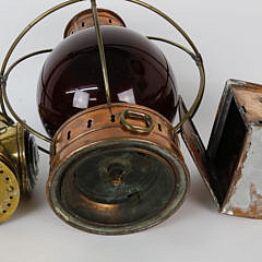 Group of Three Brass and Copper Maritime Lights, 19th Century