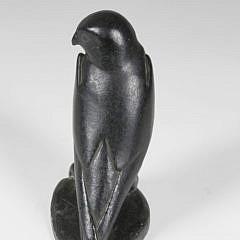 J. Alashuak Inuit Hand Carved Soapstone Model of a Gyrfalcon