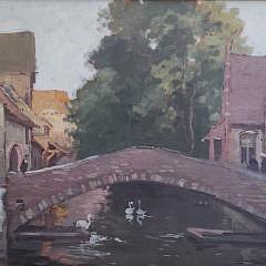 """Antique Oil on Board, """"Bruges: Le Pont St. Benoit"""""""