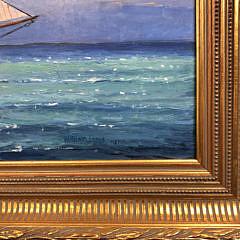 "William Lowe Oil on Canvas ""Schooner Yacht America"""