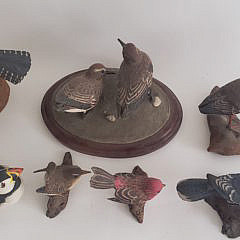 Collection of 8 Pete Micciche Hand Carved and Painted Bird Decoys