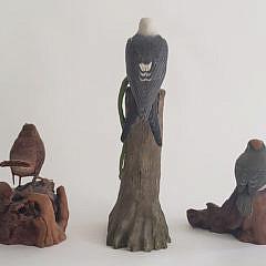 Three Richard Schepis Hand Carved and Painted Miniature Bird