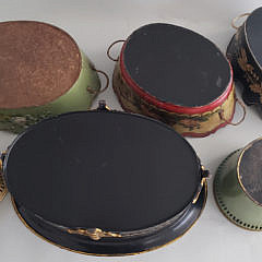 Seven Antique and Vintage French Tole Paint Decorated Planters and Bottle Caddie