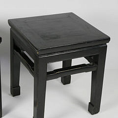 Pair of Chinese Export Black Lacquered Side Tables, 19th century