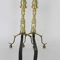 Pair of Period Brass Petite Andirons, early 19th century