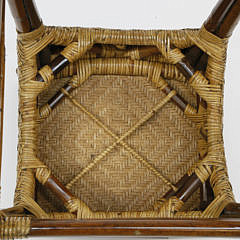 Six Contemporary Bamboo and Rattan Barstools