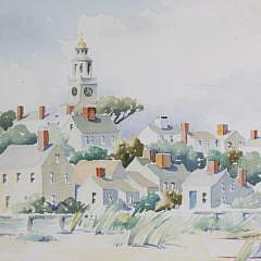 "Doris and Richard Beer  Watercolor on Paper ""Unitarian Church"""