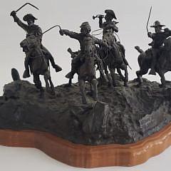 Three Jan Hana Miniature Figural Western Bronze Compositions