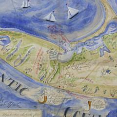 Kolene Spicher Antique Style Folk Art Map of Nantucket Island, 21st Century