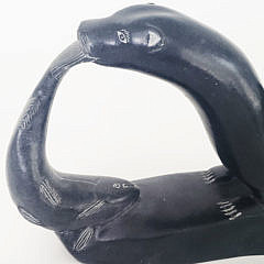 Simon Makimak Inuit Carved Soapstone Otter with Fish Sculpture