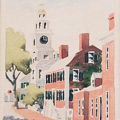 """Doris and Richard Beer Watercolor on Paper, """"Orange Street"""", Nantucket"""