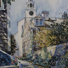 """William Welch Watercolor on Paper """"Stone Alley"""""""