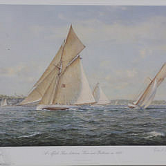 """Richard Loud Limited Edition Offset Lithograph """"A Match Race Between Xara and Baboon in 1888"""""""