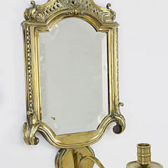 Pair of English Brass Mirrored Sconces, 19th century
