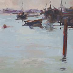 "David Lazarus Oil on Canvas ""Working Waterfront"""