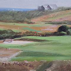 """M.J. Moore Oil on Linen, """"Sankaty Golf Course"""", Nantucket"""