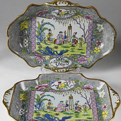 Four Mason's Ironstone Pink Scroll Pattern Dessert Plates and Dishes, circa 1815-1820