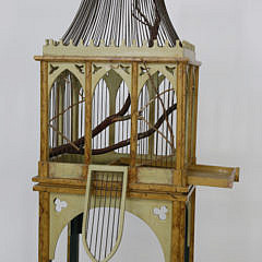 Two-Part Decorated Vintage Bird Cage