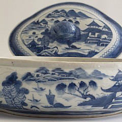 Unique Chinese Canton Blue and White Covered Tureen, 19th Century