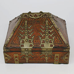 Brass-mounted Polychrome Wood Writing Case, Kerala, South India, 19th century