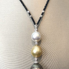 South Sea Pearl and Spinel Lariat Necklace