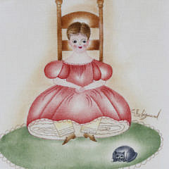 C.E. Sigmund Ink and Watercolor on Velvet Folk Art Painting