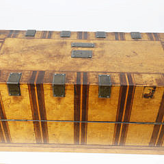 American Bird's Eye Maple and Exotic Hardwood Inlaid Tea Caddy, circa 1840s