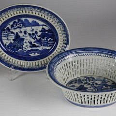 Canton Chestnut Basket and Underplate, circa 1840s