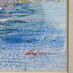 "Kerry Hallam Acrylic on Nantucket Sound Chart ""On a Tack"""