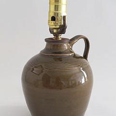 Vintage Captive Pottery Green Glaze Jug, New Hampshire