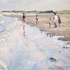 """Geoffrey Chalmers Oil on Canvas, """"Beach Bathers"""""""