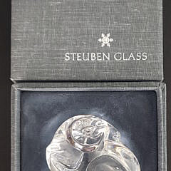 Signed Steuben Clear Crystal Figural Ram Paperweight Hand Cooler