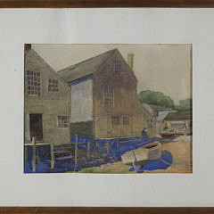 """S.H. Stevens Rare Nantucket Watercolor on Paper """"The Dorothea at Old North Wharf"""", 1928"""