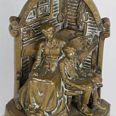 "Rare Antique Figural Bronze Doorstop ""The Boyhood of Lincoln"", 19th century"