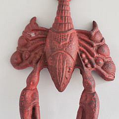 Vintage Cast Iron Figural Lobster Boot Jack Doorstop