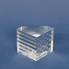 Signed Steuben Clear Crystal Etched American Flag Paperweight