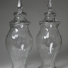 Pair of Clear Glass Covered Urns, 19th Century