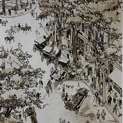 "Tony Sarg Print ""Overhead View of Main Street Nantucket"""