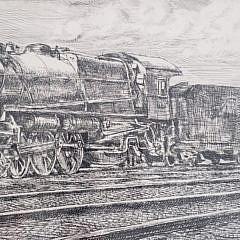 Reginald Marsh Engraving of a Steam Locomotive