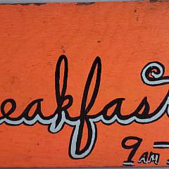 """Vintage Hand Painted Sign, """"Sunday Breakfast 9-12"""", on Wood Panel"""