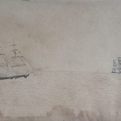 19th Century Pencil Drawing of 6 Ships on the Open Sea