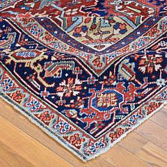 Vintage Persian Heriz Hand Knotted Oriental Carpet