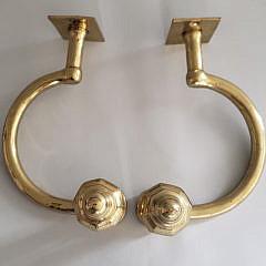 Pair of Large Brass Multi Turned Jamb Hooks, circa 1840