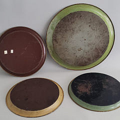 Seven Antique and Vintage French Tole Paint Decorated Serving Trays